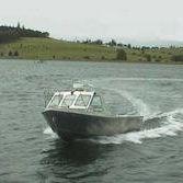 Barco open intraborda / con doble consola / de pesca deportiva / de aluminio