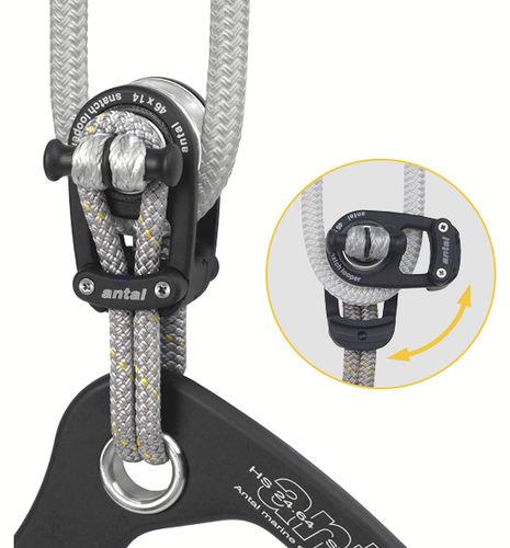 polea con apertura / simple / con fijación textil / diámetro máx. del cabo: 14 mm