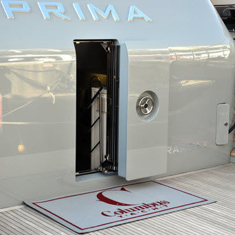 puerta para yate / deslizante integrada / semiestanca / de aluminio