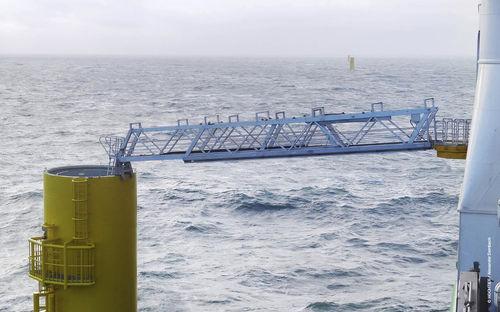 pasarela para buque de servicio offshore / telescópica / con compensación de movimiento / hidráulica