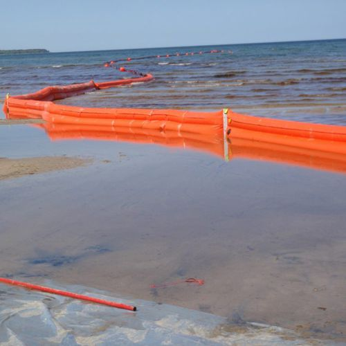 barrera de contención / flotante / para río / para zona de oscilación