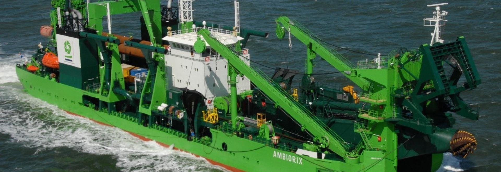 La draga resistente Ambiorix del cortador de la roca emprenderá los trabajos en Louis Harbour portuario