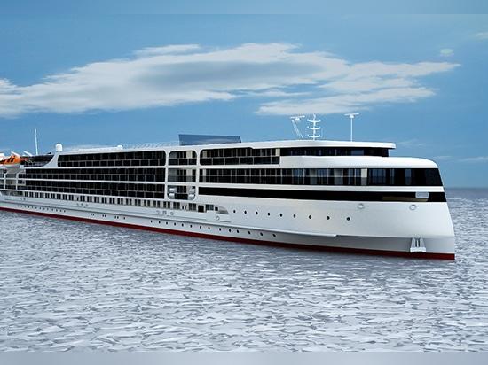 La yarda rusa pone la quilla para el barco de cruceros del río