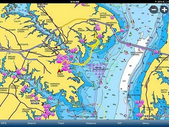 Una captura de pantalla del app de Navionics (cortesía de Boats.com)