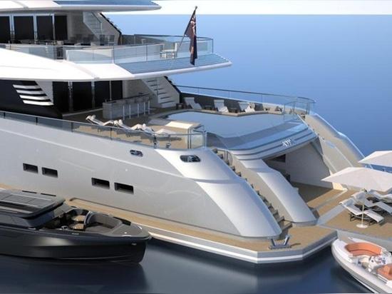 CRN lanza nuevas representaciones del proyecto del superyacht de 70 metros ella