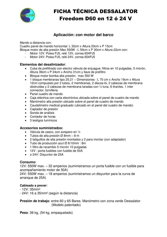 Ficha técnica DC Freedom 60 - Dessalator - Catálogo PDF ...