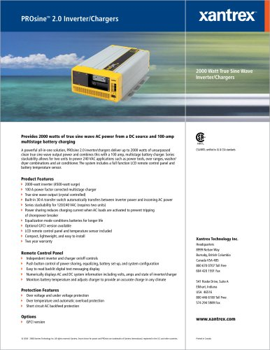 PROsine TM  2.0 Inverter/Chargers
