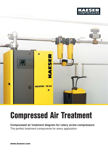 Compressed air treatment diagram for rotary screw compressors