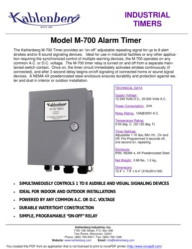 Industrial Alarm Timer, Model M-700