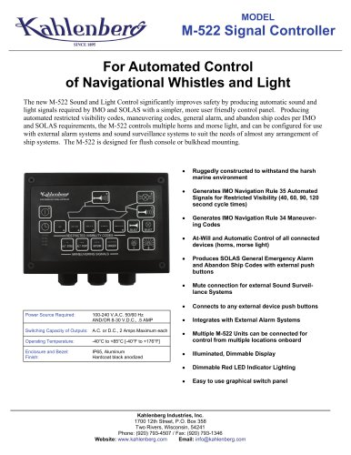 Signal Controller, Fog Signal Timer Model M-522
