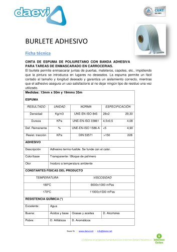 Burlete Adhesivo