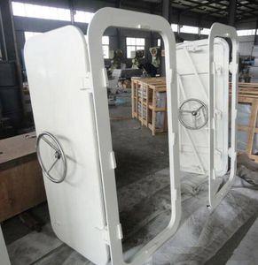puerta para buque / corredera vertical / con bisagra lateral / estanca