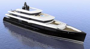 megayate de crucero / con caseta de timón / de acero / proa vertical