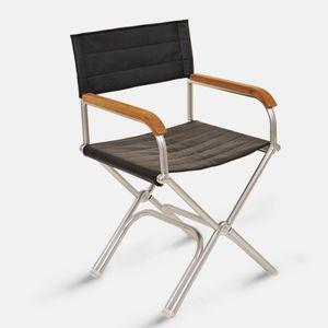 silla tipo director de cine para barco / plegable / de teca / de aluminio