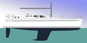 yate de vela de crucero / con popa abierta / con deck saloon / de fibra de vidrio