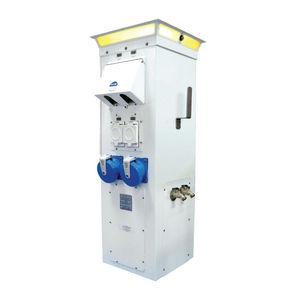 torreta con iluminación integrada / de suministro eléctrico / para pantalán / de acero inoxidable