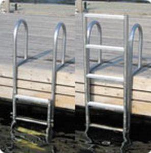escalera para pantalán / abatible / de baño / manual