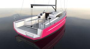 velero de crucero rápido / de madera / de doble timón / biquilla