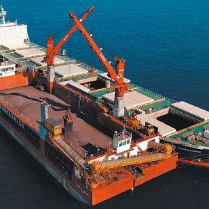 grúa para buque grúa / sobre muelle flotante / para carga pesada / de brazo articulado