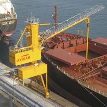 descargador de buque continuo / neumático / mecánico / sobre carril