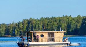 barco casa catamarán / fueraborda / con doble cubierta solar / 4 personas máx.