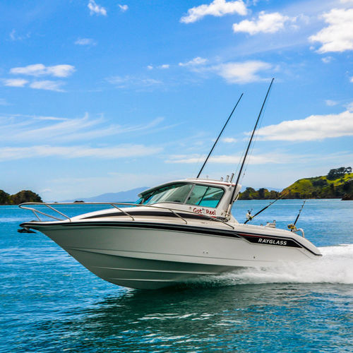 cabin-cruiser fueraborda / con hard-top / de pesca deportiva
