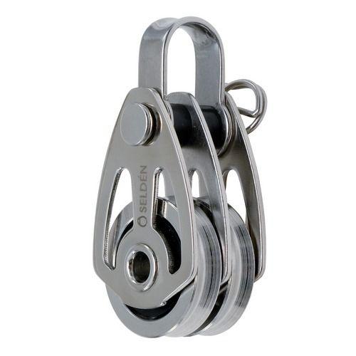 polea con rodamiento de bolas / doble / con cabecera fija / diámetro máx. del cabo: 5 mm