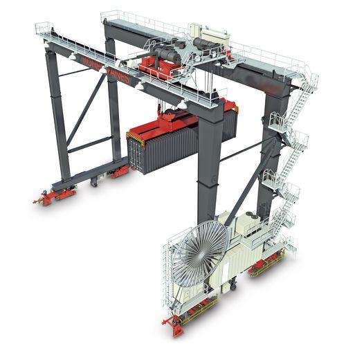 grúa apiladora de contenedores sobre carril / automática