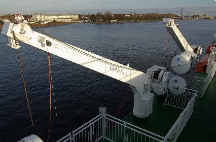 pescante para buque / para balsa salvavidas / manual