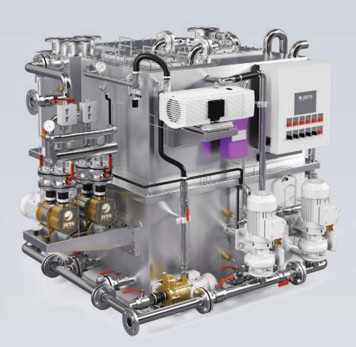 sistema de tratamiento aguas residuales / para buque / biológico / por vacío