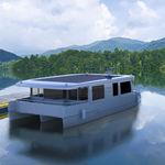 barco casa catamarán / intraborda / eléctrico de energía solar / con 2 camarotes