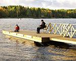 pantalán flotante / de desembarque / para puerto deportivo / de madera