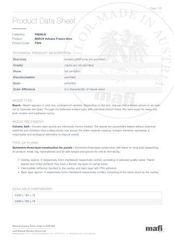 BEECH VULCANO FRESCO ARCO Product Data Sheet