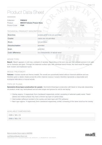 BEECH VULCANO FRESCO DUNA Product Data Sheet