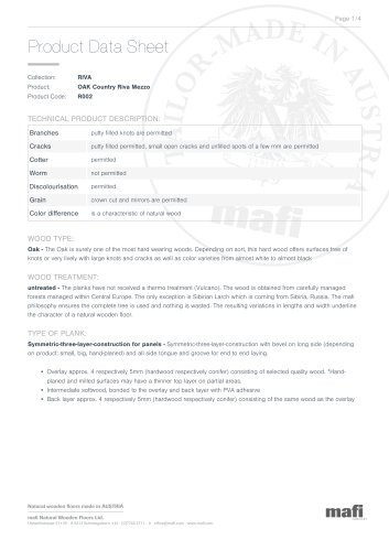 OAK COUNTRY RIVA MEZZO Product Data Sheet