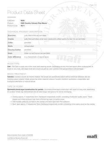 OAK COUNTRY VULCANO RIVA MEZZO Product Data Sheet