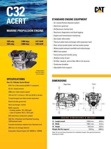 Cat C32 ACERT Marine Propulsion Engine (1800, 1900 bhp)