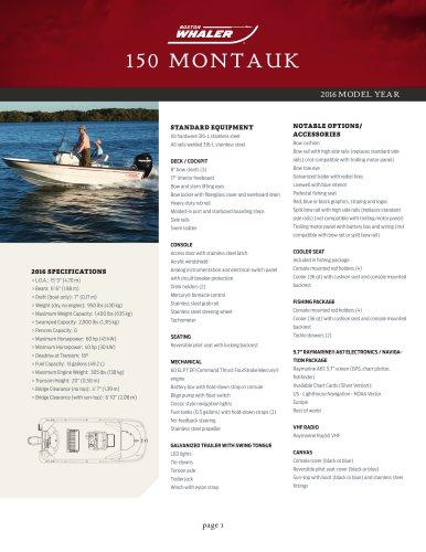150 MONTAUK Specifications 2016