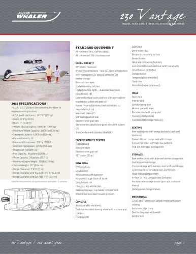 230 Vantage Specifications - 2015