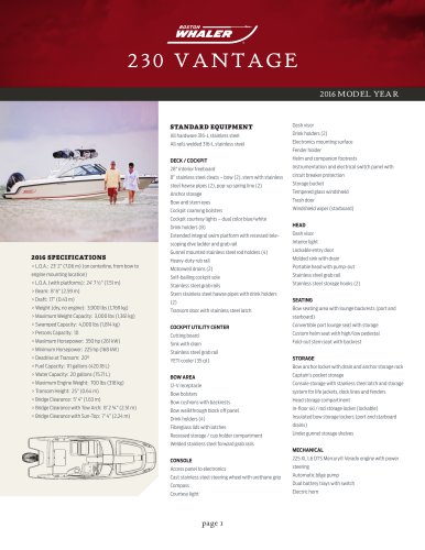 230 VANTAGE Specifications 2016