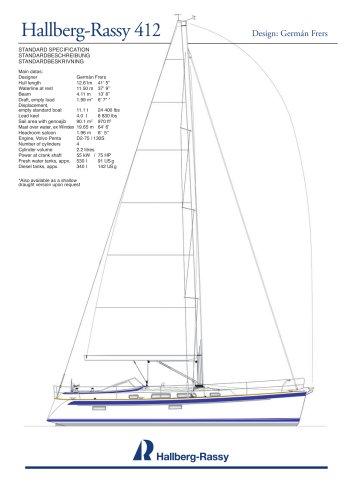 Hallberg-Rassy 412 Standard specifications