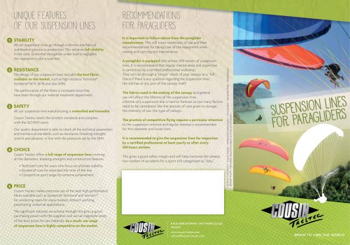 Brochure « Suspentes pour Parapente »