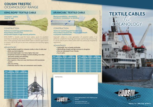 Câbles textiles pour l'Océanographie