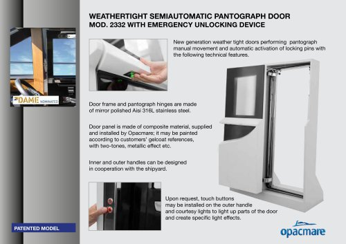 weather tight semiautomatic pantograph door serie 2332 certifiable