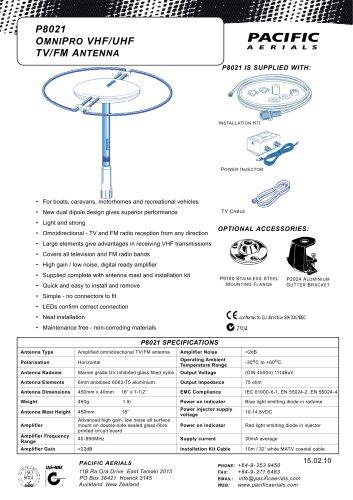 P8021 OMNIPRO VHF/UHF TV/FM ANTENNA