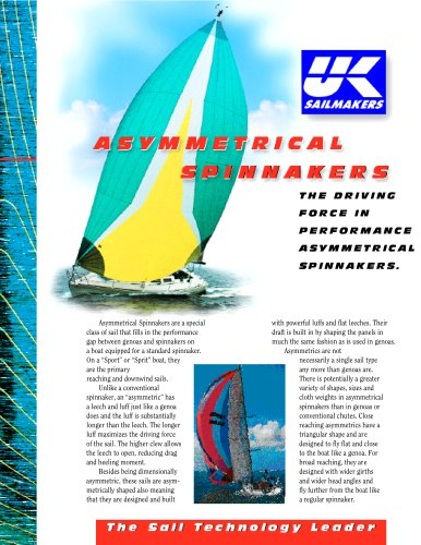 Asymetrical sail spinnakers