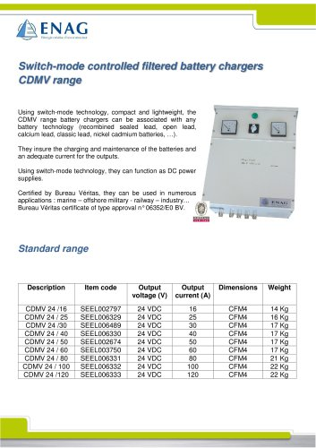 BATTERY CHARGER SINGLE PHASE 24VDC – CDMV RANGE