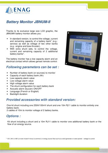 Battery monitor for JBNUM-II