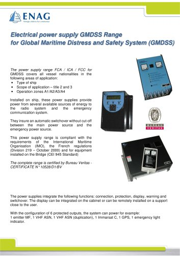 Electrical power supply GMDSS Range for Global Maritime Distress and Safety System (GMDSS)
