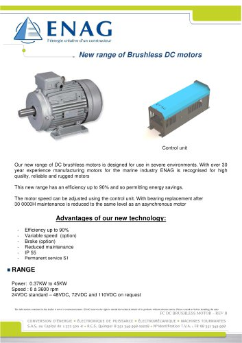 Motor 24V DC with variable speed IP55